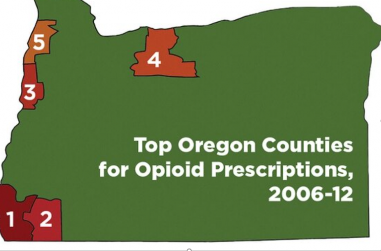 Map of Oregon with counties most affected by opioid crisis