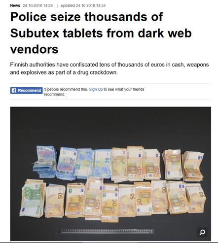 seized illicit subutex tablets
