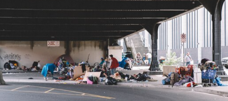 Homeless area on city street