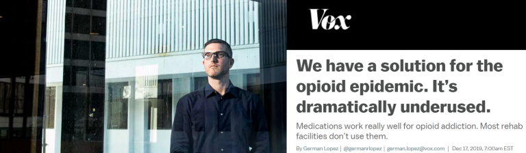 Image of Vox headline about opioid treatment