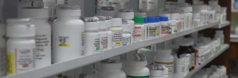 bottles of medications on shelves