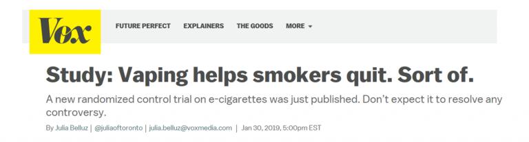 'Vox headline about vaping