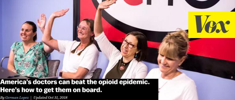Vox headline about doctors treating opioid misuse