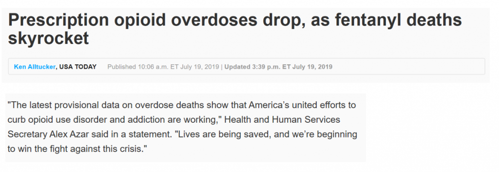 Headline about opioid overdose
