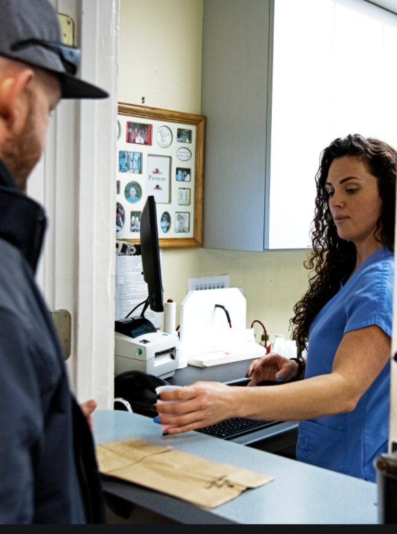 Methadone being dispensed at a clinic