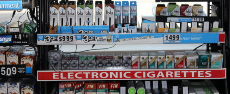 Vaping products on store shelves