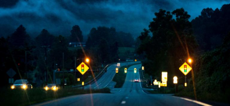 Nighttime highway scene in America