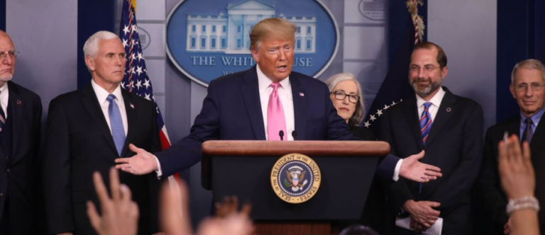 President Trump at news conference with reporters