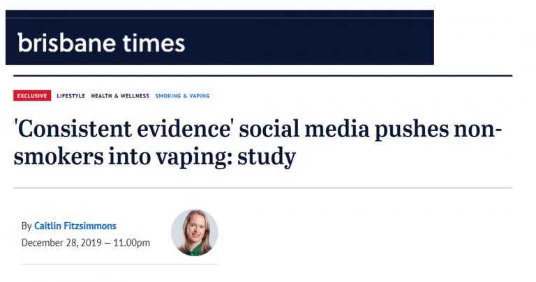 Headline about social media and vaping