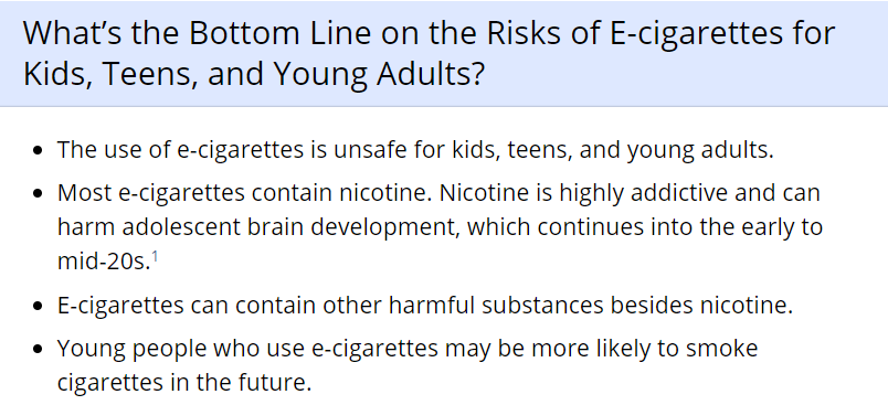 information from the CDC on vaping