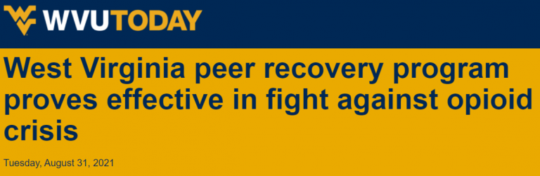 Headline about success of peer support