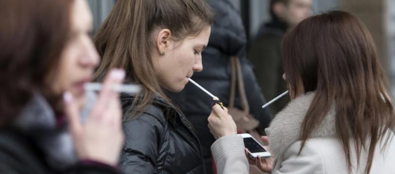 teenagers smoking cigarettes